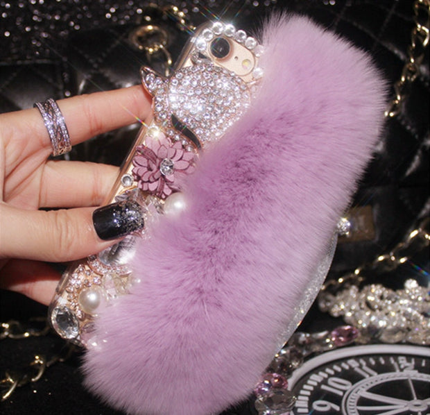 XSMYiss Luxury Rabbit Fur Diamond Fox Head Flower Pearl Phone Case For IPhone Xs Max 7 8 Plus 6 6s Plus 5S SE 5C Back Case