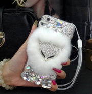 XSMYiss Luxury Fox Head Warm Soft Beaver Rabbit Fur Hair Phone Cases For Samsung S6E S7E S8 S9P N4 N5 8protective Phone Hot Sale
