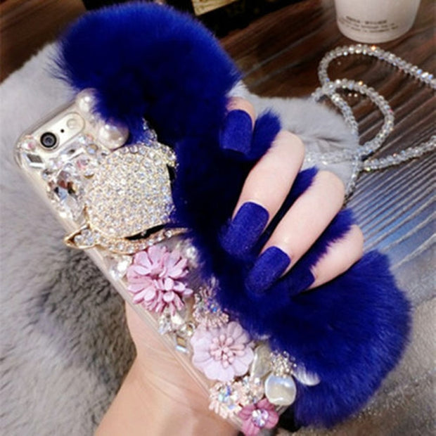 XSMYiss Warm Fluffy Rabbit Fur Bling Diamonds Pearl Jewelry Case Cover For SAMSUNG S4 S5 S6 S6E S7 S7E S8 S9 PLUS N3 N4 N5 N8