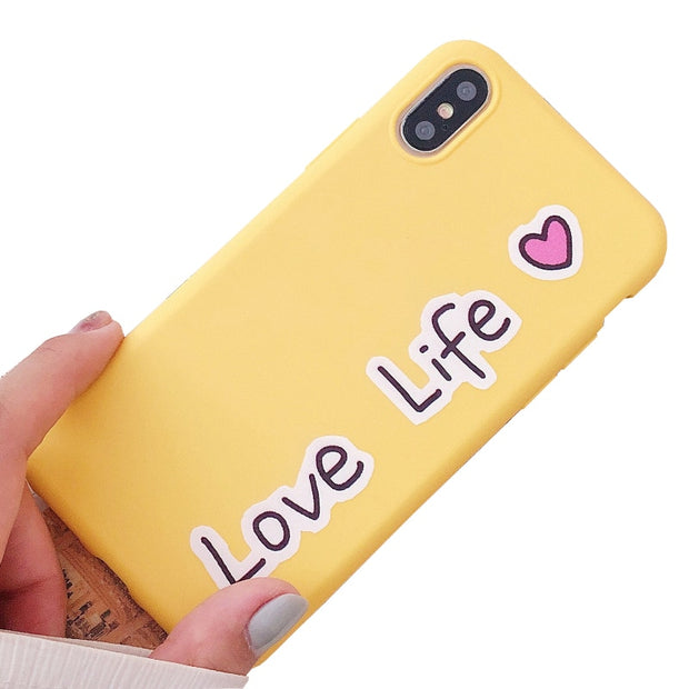 YESPURE Yellow Fitted Phone Case For Iphone X 8 7 6 6s Plus Case Cartoon Fashion Stylish Soft TPU Cover Drop Shipping