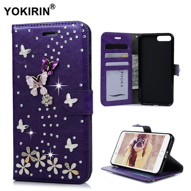 YOKIRIN 3D Handmade Crystal Rhinestone Butterfly Wallet Case For IPhone 7 Plus Bling Diamond PU Leather Stand Phone Case