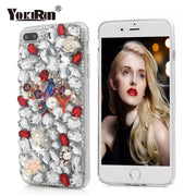 YOKIRIN 3D Handmade Flower Bling Crystal Diamond Hard Case Rhinestone Cover For IPhone 5 5S SE 6 6S 7 8 Plus For Sony Xperia XZ