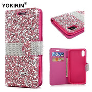 YOKIRIN Luxury Bling Rhinestone Diamond For IPhone X Glitter Flip Wallet Leather Cover Protective Phone Cases For IPhone X