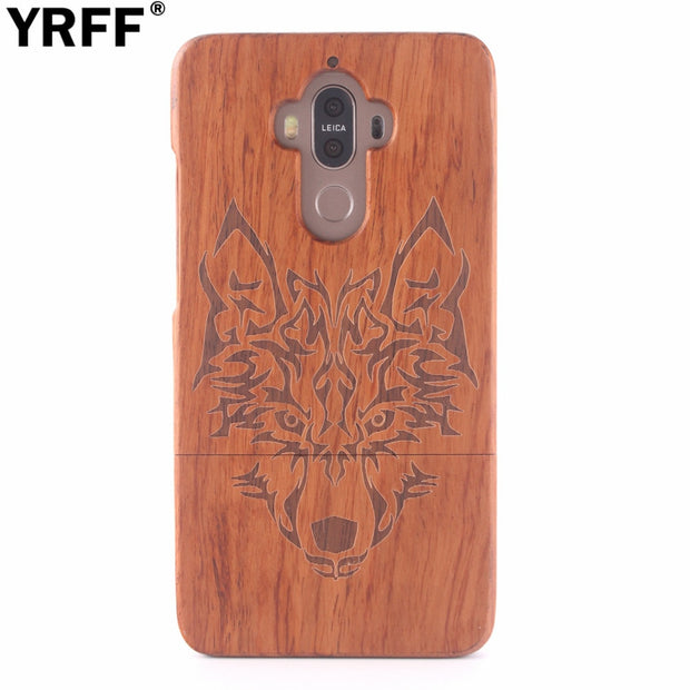 YRFF Traditional Carving Wood Case For Huawei Mate 9 Animal Wolf Eagle Skull Tower Wooden Phone Case Cover For Huawei Mate9
