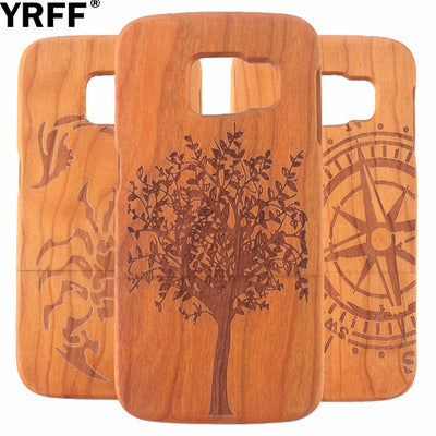 YRFF Wall Clock/Compass/ship Anchor/Scorpion/wolf/tree Wooden Phone Case For Samsung Galaxy S6 Edge G9250 Wood Back Cover