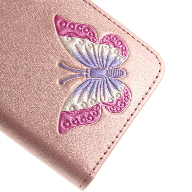 Yokata Flip Phone Leather Case For Samsung A3 A5 2017 For Butterfly Patterned Plain Coque For Samsung J3 J5 J7 S7 S8 Plus