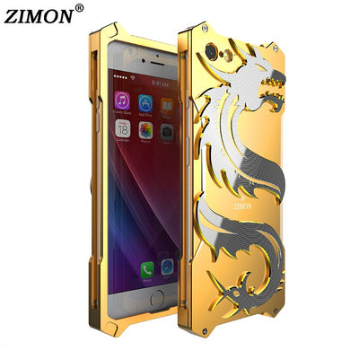 Zimon 3D Dragon Shockproof Metal Case Cover For IPhone 7 8 Outdoor Case Aluminum Metal Phone Armor Back Cover For IPhone 6 6s