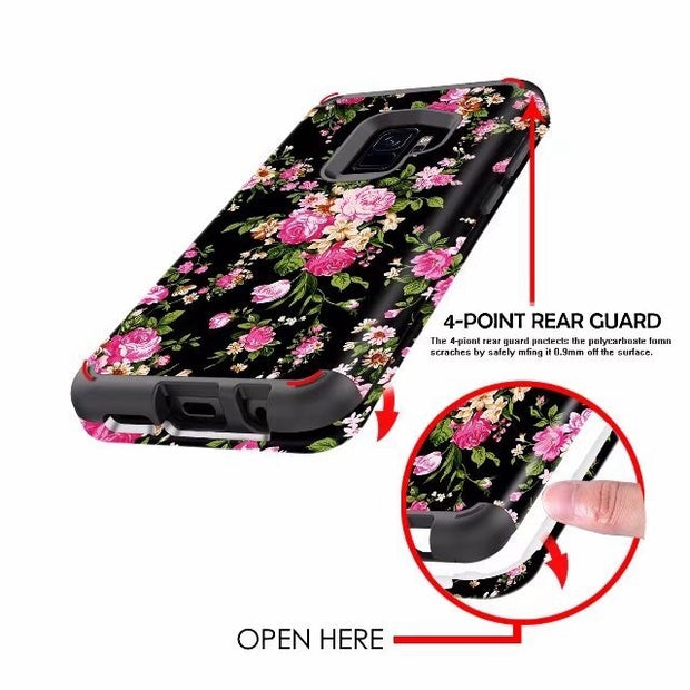 Black Rose Printing Shockproof Tough Hybrid Armor Drop Protection Case Cover For Samsung Galaxy S9/S9 Plus