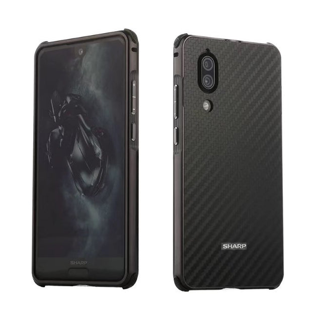 Case For SHARP AQUOS S2 Plating Metal Aluminum Bumper+Carbon Fiber Brushed 2 In 1 Hybrid Case Shockproof Back Cover Para Coque