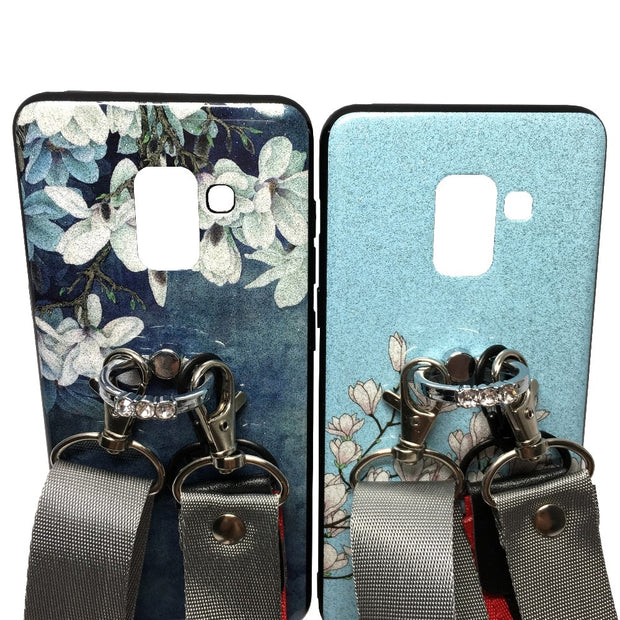 Case For Samsung Galaxy A8 Plus A6 Plus 2018 Case Cover Bling Diamond Ring Holder Flower Shoulder Strap Tpu+pc Phone Bag Ritozca
