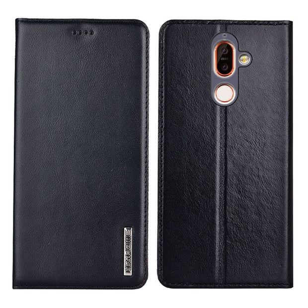 newest db0a6 9b9f0 For Nokia 7 Plus Case Flip Genuine Leather Soft Silicon Back Cover For  Nokia 7 Plus Cases