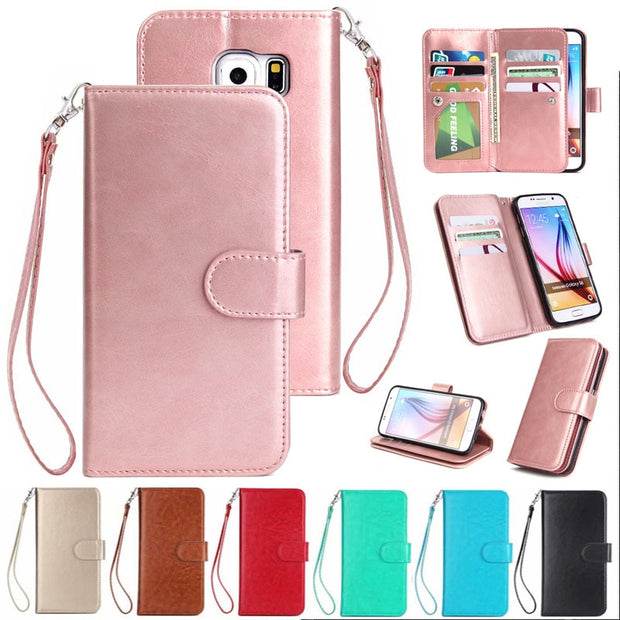 For Samsung Galaxy S6 Flip Case G9200 9 Card Slot PU Leather Wallet Stand Cases Pouch Purse Fundas Case Cover For Galaxy S6
