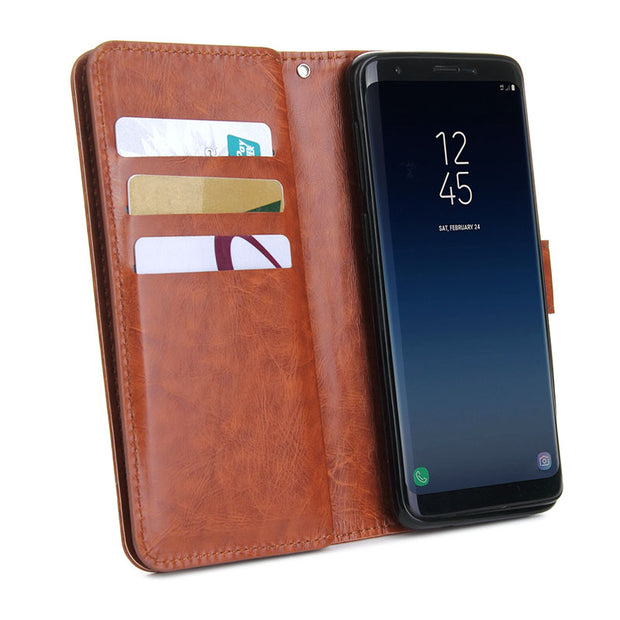 For Samsung Galaxy S9 Flip Case 9 Card Slot Leather Wallet Stand Cases Pouch Purse Fundas Case Cover For Samsung Galaxy S9