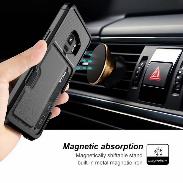 For Samsung Galaxy Note9 Car Magnetic Card Holder All-inclusive Card Protection Case For Samsung S9/s9plus Phone Case