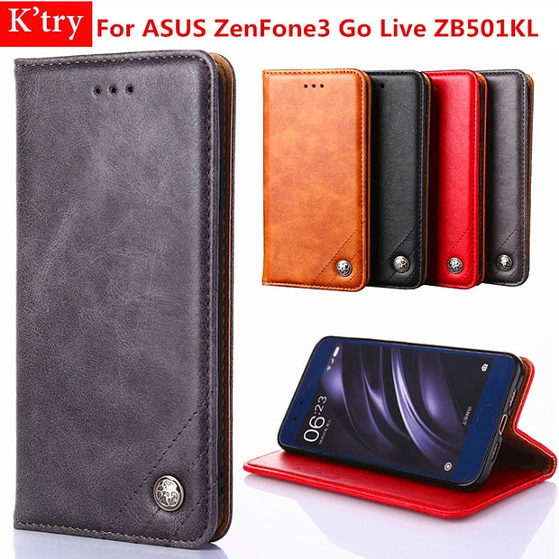 For Asus ZB501KL Card Holder Cover Case Luxury Retro Leather Wallet Cases For ASUS ZenFone3 Go Live ZB501KL Flip Bag Coque Funda