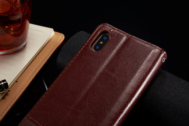 For IPhone X Case,Luxury Folio Flip Case Stitching Leather Cover Kickstand Protective Shell Card Slots For Apple IPhone X 10 Bag