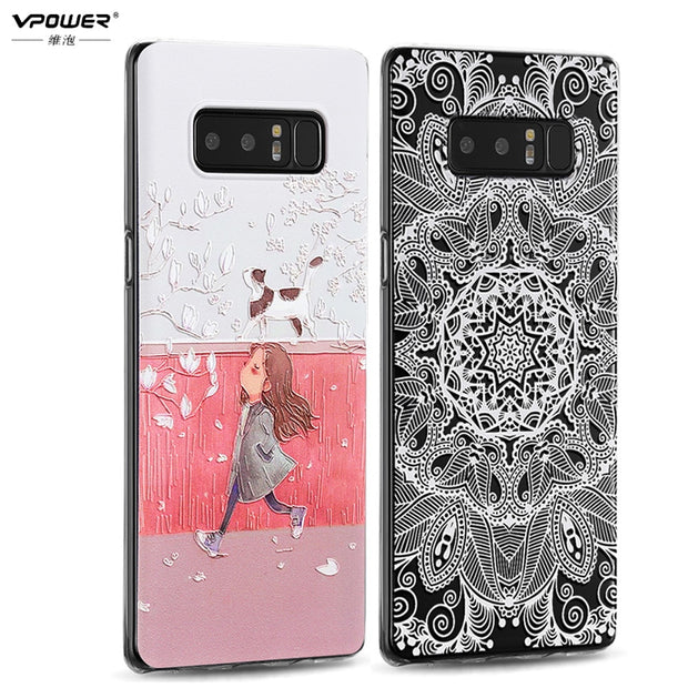 For Samsung Galaxy Note 8 Case Silicone Cover Coque Vpower 3D Stereo Relief Back Cover Case For Samsung Note 8 Protection Shell
