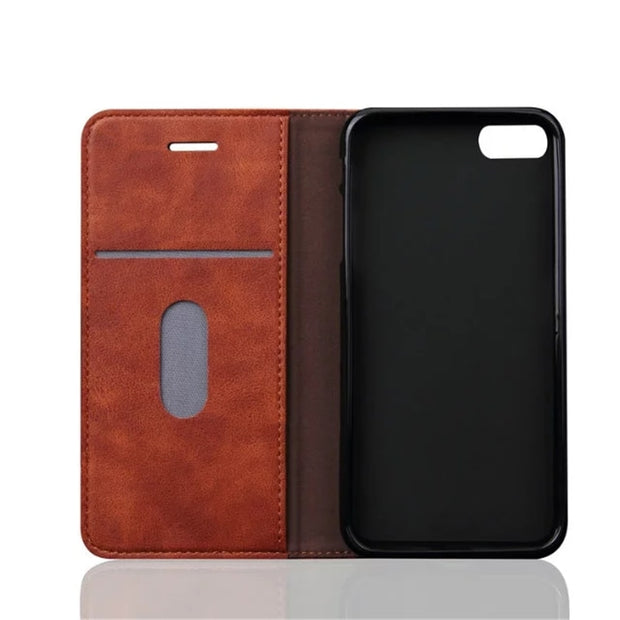 I7 Luxury Flip Leather Case For IPhone On 7 4.7 Inch Retro Flip Wallet Coque + Silicone Back Cover For Iphone 7 With Card Slots