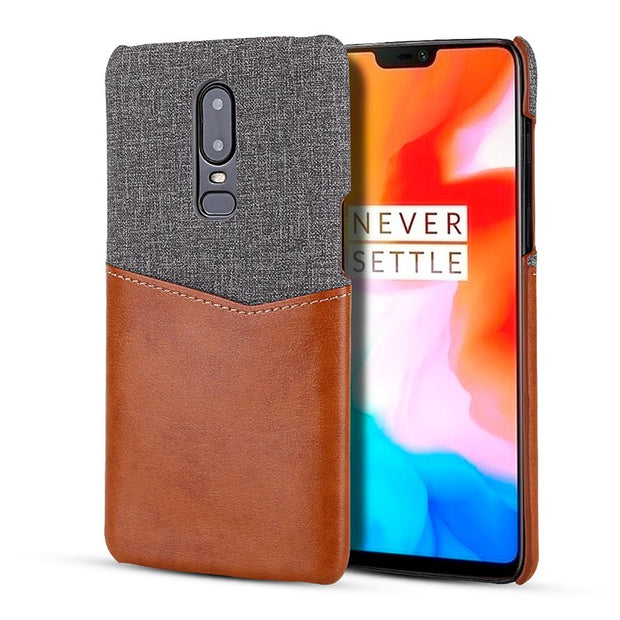 ICOOL Leather Patchwork Card Back Cover For Oneplus 6 6T Case Ultra-thin Phone Cases For Oneplus 6 6T 1+6 Case