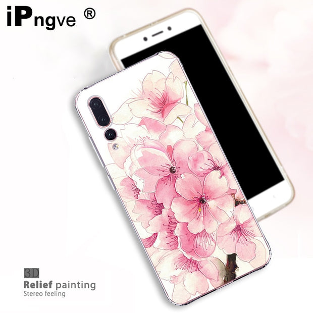Ipngve 3D Relief Printing Clear Soft TPU Case For Huawei P20 Pro Case Phone Back Cover Ultra-thin Fundas For Huawei P20 Pro