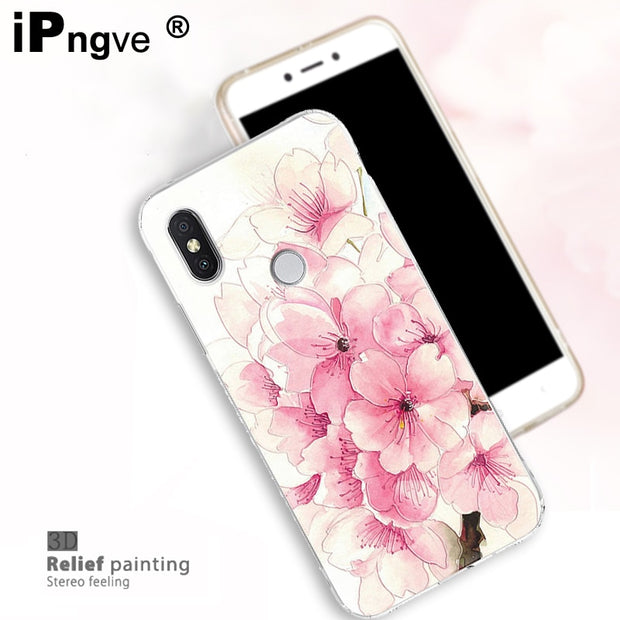 Ipngve 3D Relief Printing Clear Soft TPU Case For Xiaomi Mi A2 Phone Back Cover Ultra-thin Fundas For Xiaomi Mi 6X Case Mi6X
