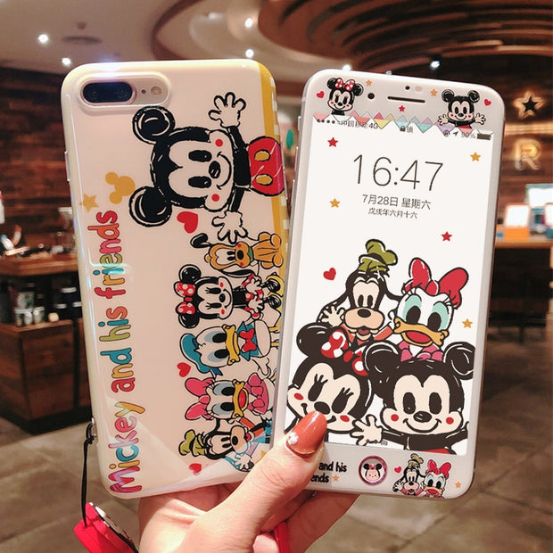 Mickey Cover For IPhone 8 7 Plus Case & Tempered Glass Film Screen Protector For IPhone 8 8plus/6 6s Plus Phone Cases Long Starp