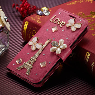 SFor Honor 7X Cases Muxma Luxury Rhinestone Fundas For Huawei Honor 7X Cover Pink Faux Leather Coque Crystal Diamond Phone Cases