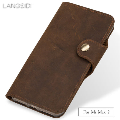 Wangcangli Genuine Leather Phone Case Leather Retro Flip Phone Case For Xiaomi Mi Max 2 Handmade Mobile Phone Case