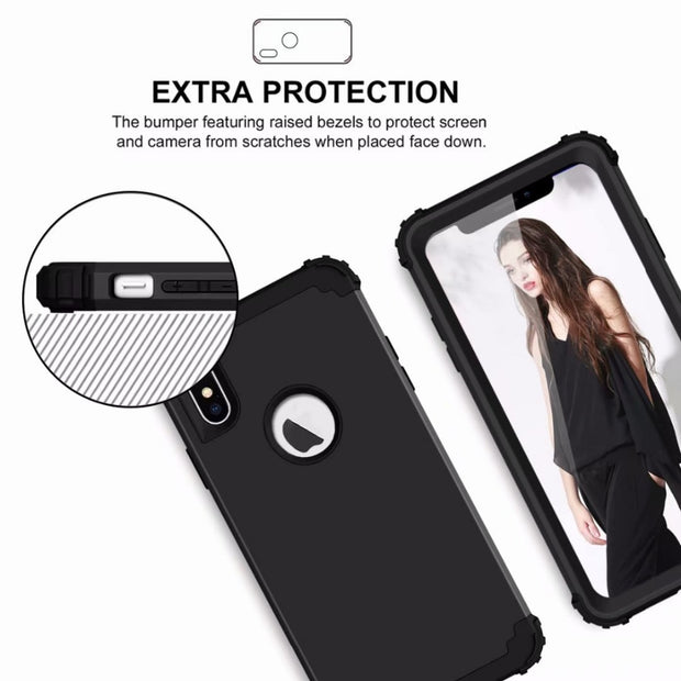 With Gasbag Heavy Duty Hybrid Sturdy Armor Defender High Impact Shockproof Protective Cover Case For IPhone XS MAX 6.5""