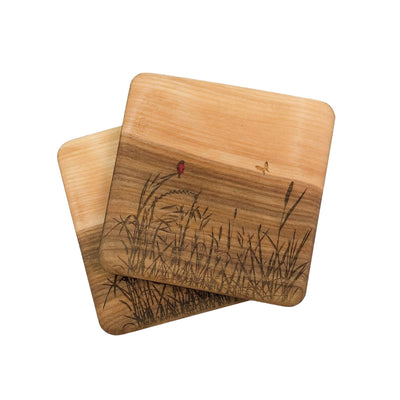 Watershed Wood Designs Handmade Birch Coasters With Nature Scene