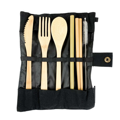 7 Piece Set of Reusable Cutlery in Black Cotton Roll