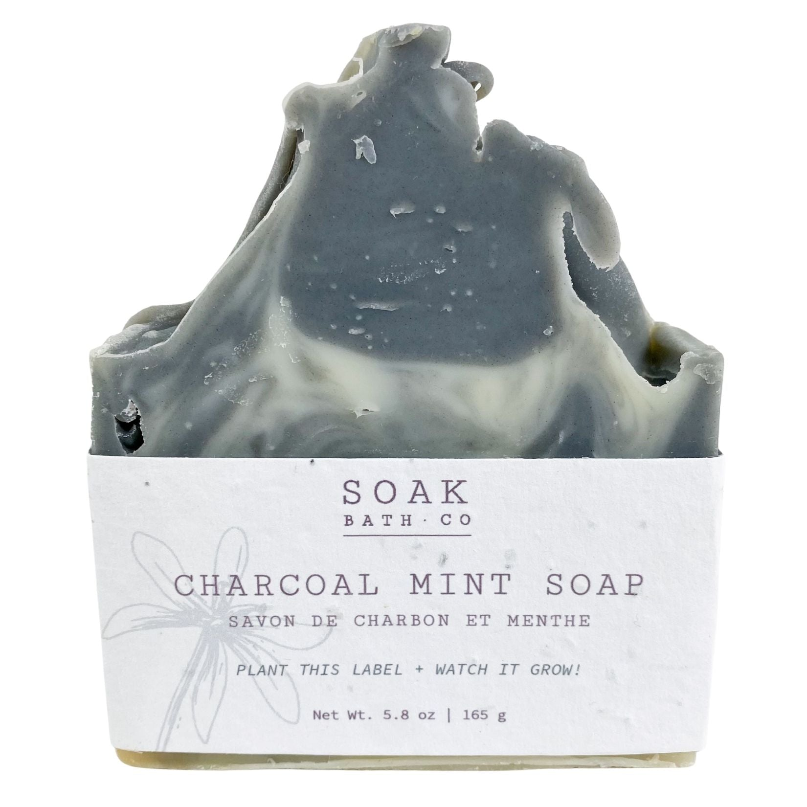 Charcoal Mint Soap Bar with Wildflower Seed Paper