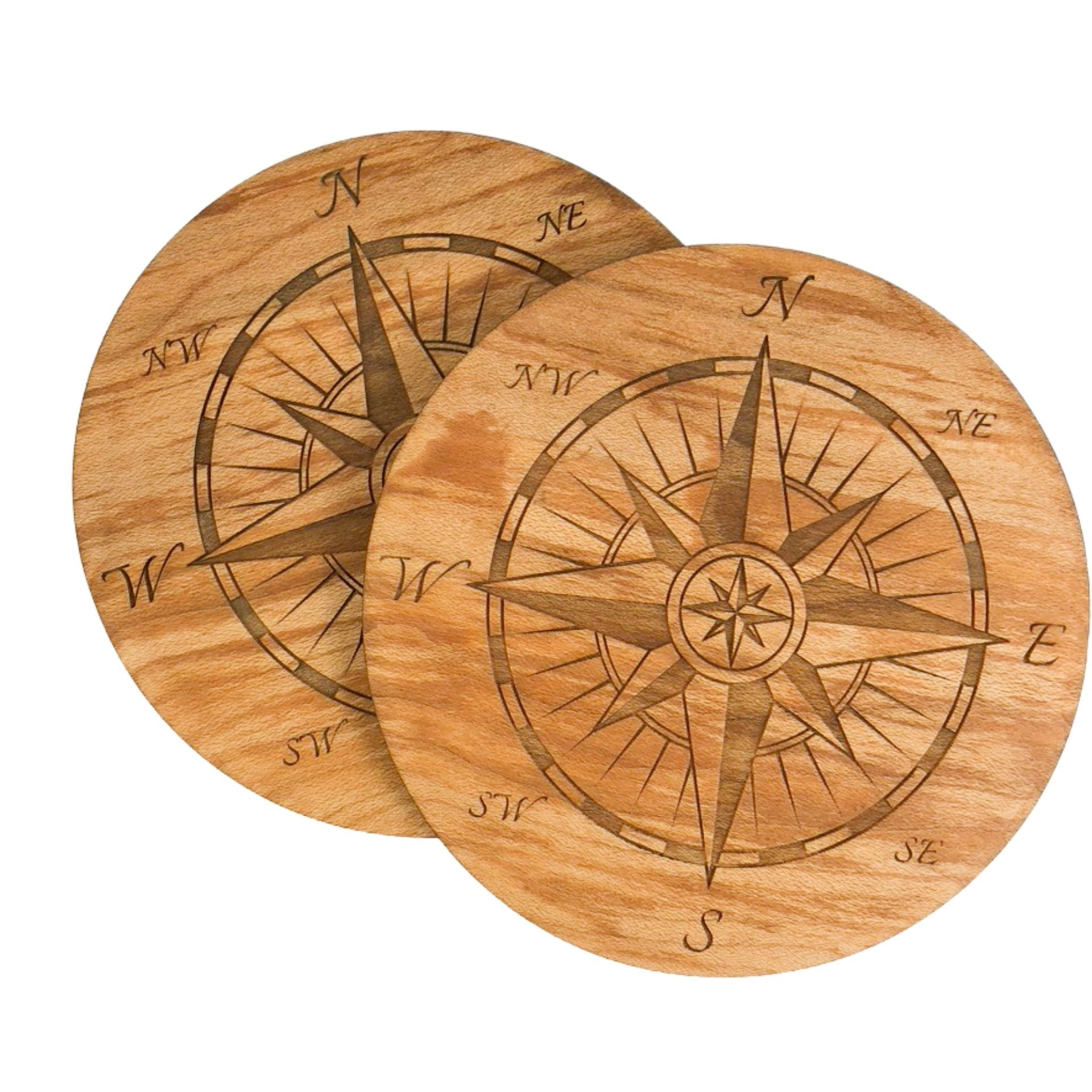 Birch Coasters with Compass