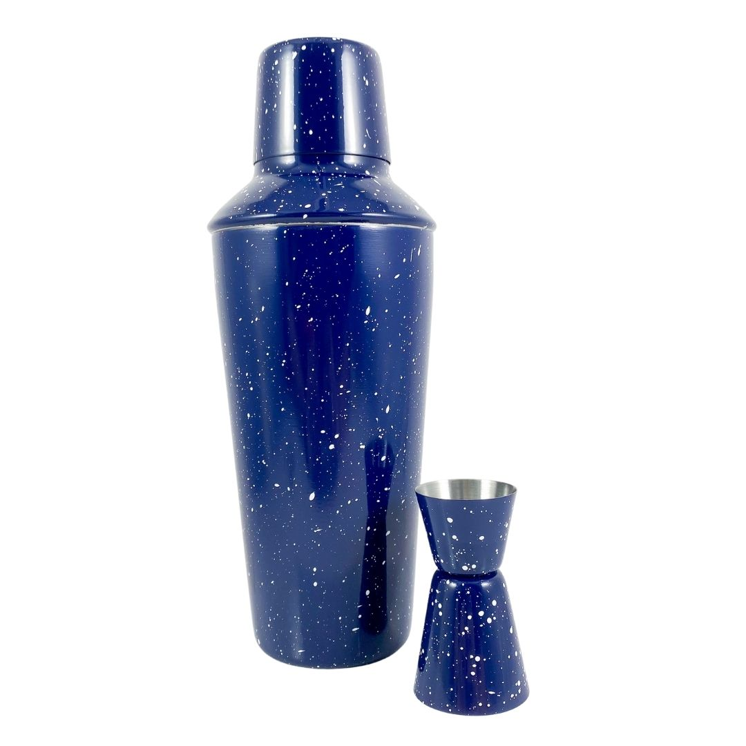 Enamel Cocktail Shaker & Jigger Set