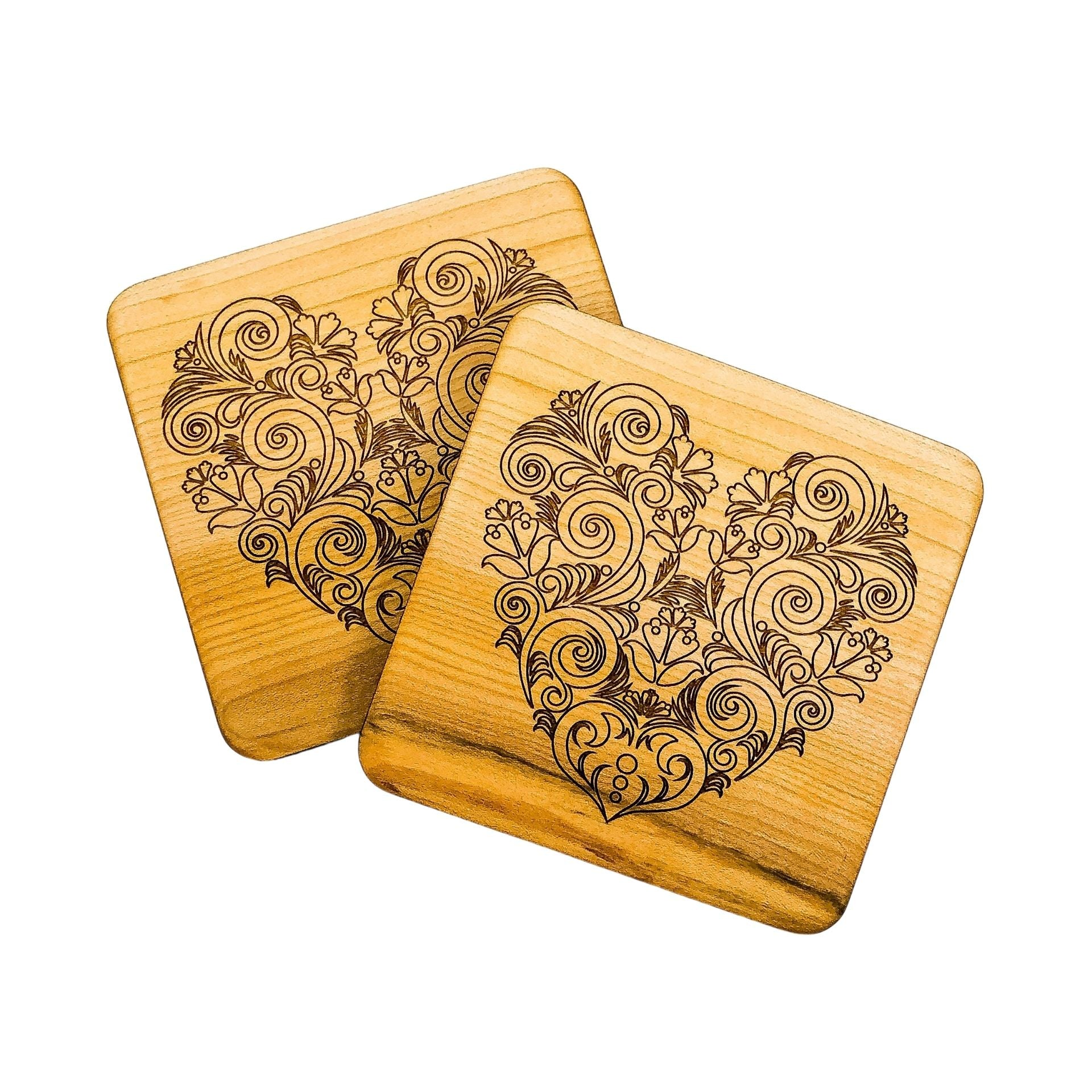 *Exclusive* Heart Birch Coasters