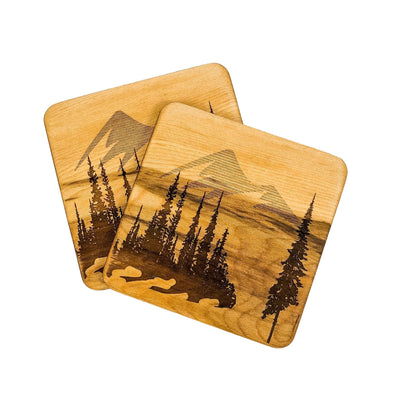 Watershed Designs Handmade Birch Coasters With Mountain Scene