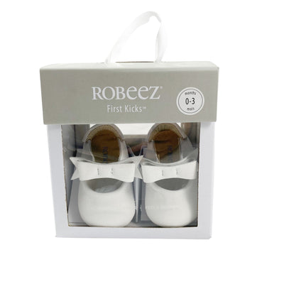 Robeez First Kicks Genuine White Leather Baby Dress Shoes