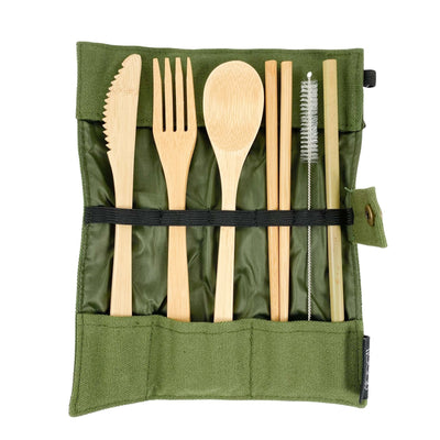 7 Piece Reusable Bamboo Cutlery In Green Cotton Roll