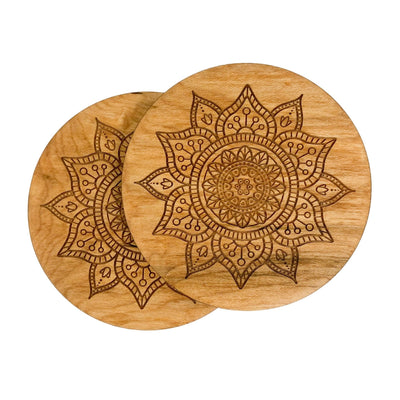 Watershed Wood Designs Handmade Birch Coasters With Mandala