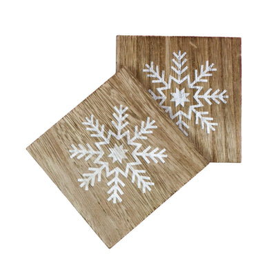 Wooden Snowflake Coasters (set of 2)