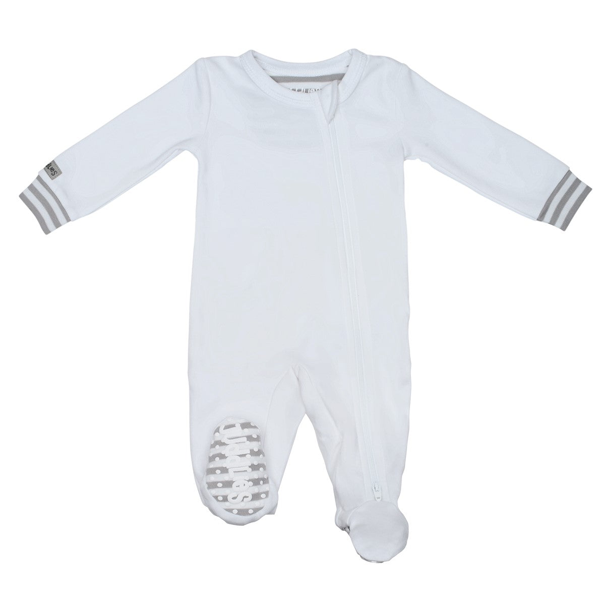 Organic Baby Sleeper In White&Grey 0-3M