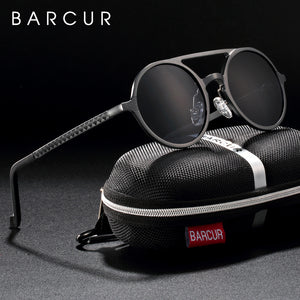 BARCUR Retro Aluminum Magnesium Sunglasses Polarized Vintage Eyewear Accessories Women Sun Glasses Driving Men Round Sunglasses