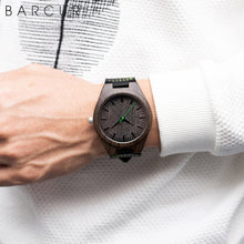 BARCUR Design Ebony Watch Quartz Men's Wristwatches Wood Ladies Green Wrist Watches Personalized Gift for Lovers