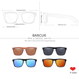 BARCUR Polarized Bamboo Sunglasses for Men Women Wood Sun Glasses