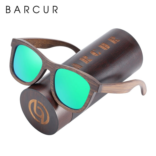 BARCUR Natural Wooden Sunglasses Polarized Men Handmade Bamboo