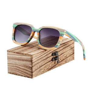 BARCUR Unique Wood Polarized Sunglasses Gradient Bamboo Sport Eyewear Square