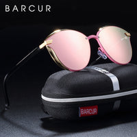 BARCUR Luxury Polarized Sunglasses Women Round Sun glassess Ladies lunette de soleil femme