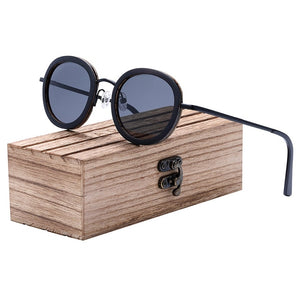 BARCUR Polarized Round Sunglasses Men Walnut Zebra Wood Sun Glasses Stainless Steel Temple Women UV400 Protection
