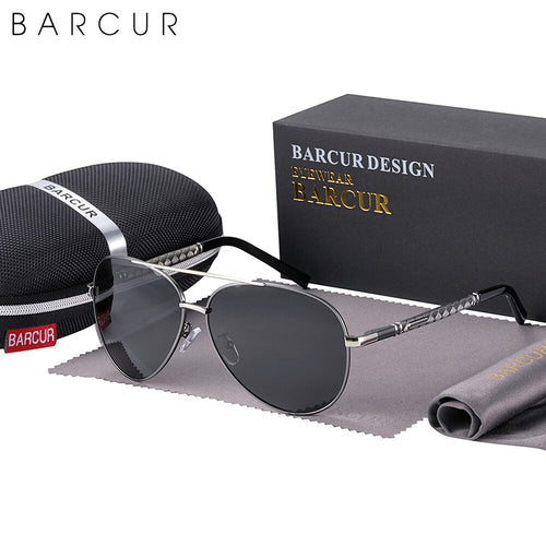 BARCUR Pilot Style Vintage Men's Sunglasses Men Polarized Coating Classic Sun Glasses Women Shade Male Driving Eyewear