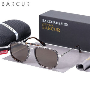 BARCUR Square Retro Steampunk Luxury Sunglasses Women Polarized Men Sun Glasses Driving UV400 Protection